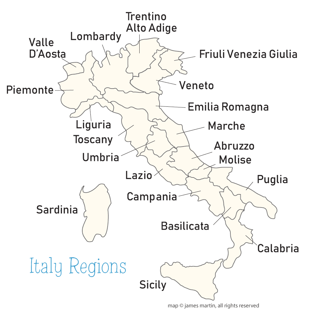 Picture Of Italy Map.Italy Regions Map Wandering Italy