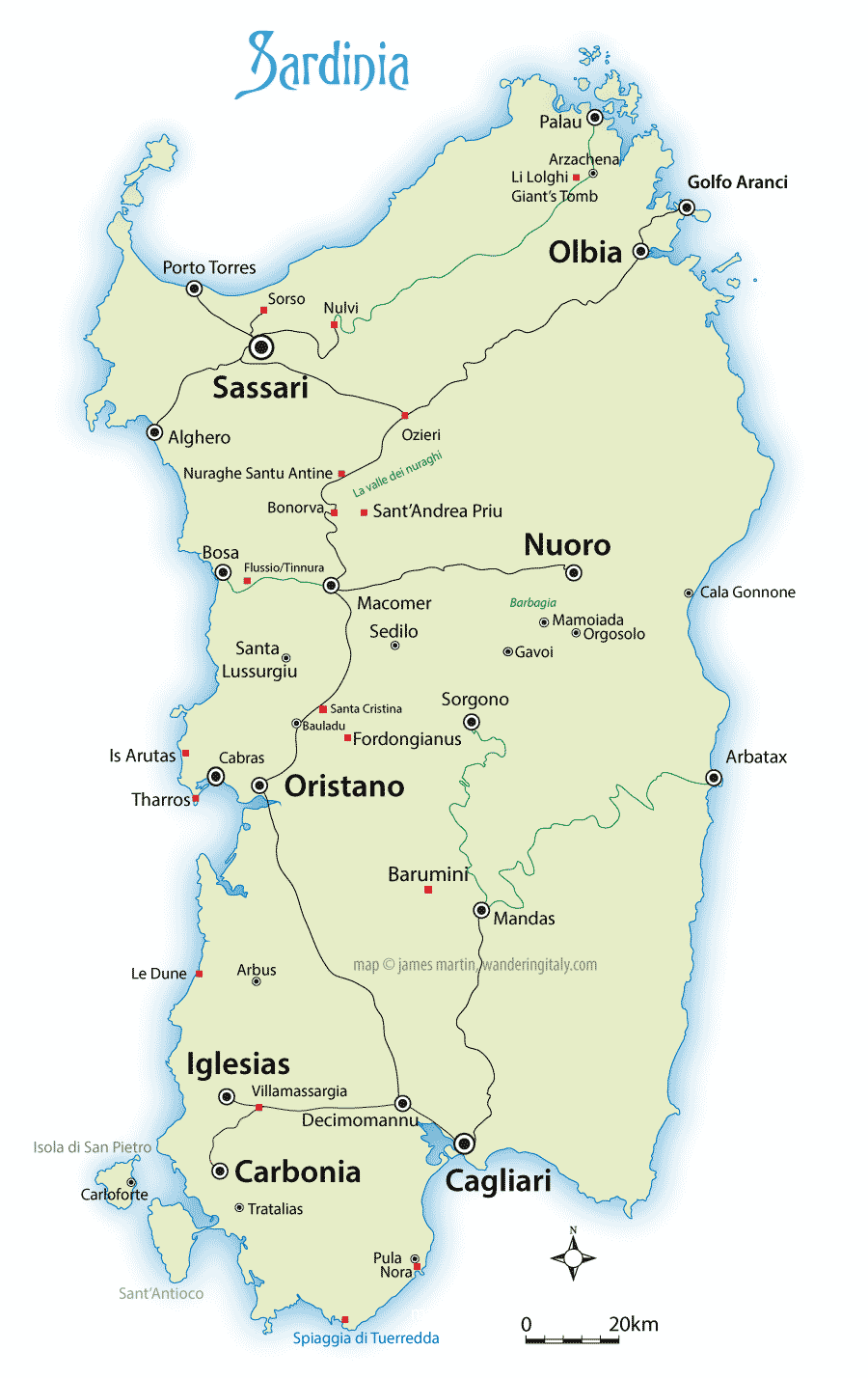 Map Of Italy With Towns.Sardinia Map And Travel Guide Wandering Italy