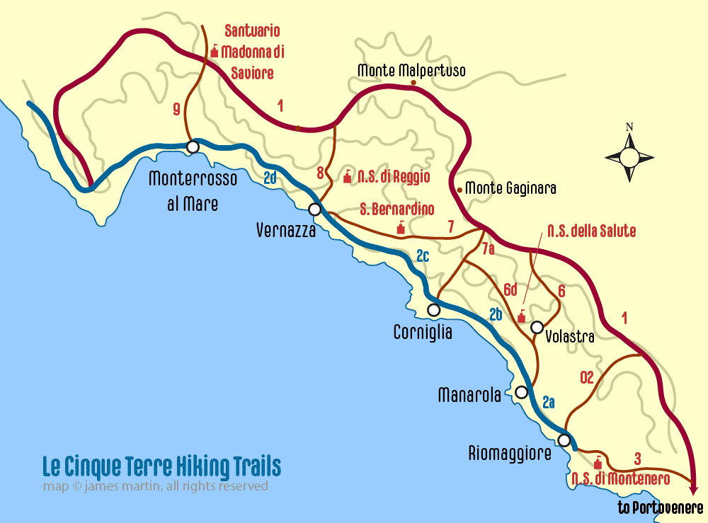 Italy Map Cinque Terre.Cinque Terre Trail Map Walking The Trails Wandering Italy