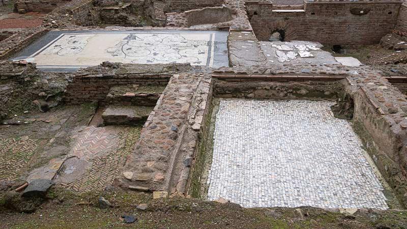 thermal baths with mosaic floors at capo di bove