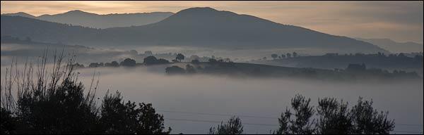 valley fog, art monastery, Calvi dell'Umbria