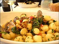 gnocchi with clams and arugula