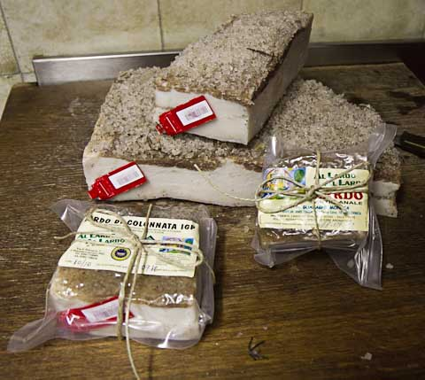 packages of lardo di Colonnata