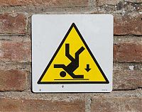 danger of falling in moat sign