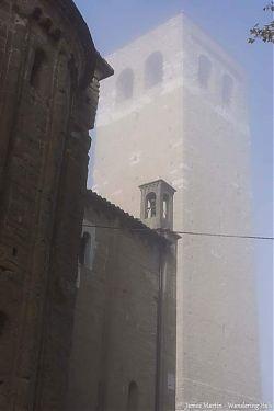 san leo belltower fog