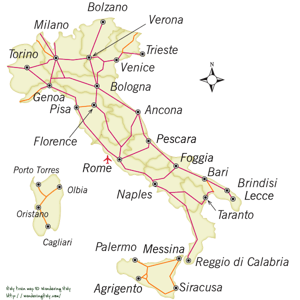 Italy train map rail lines in italy
