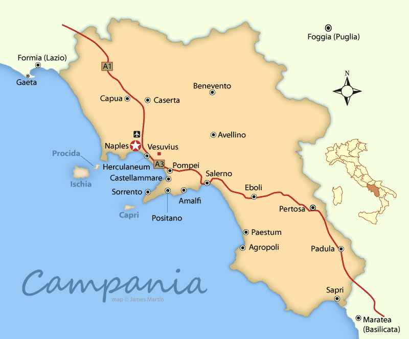 Campania Maps and Travel Guide – Travel Map Of Italy