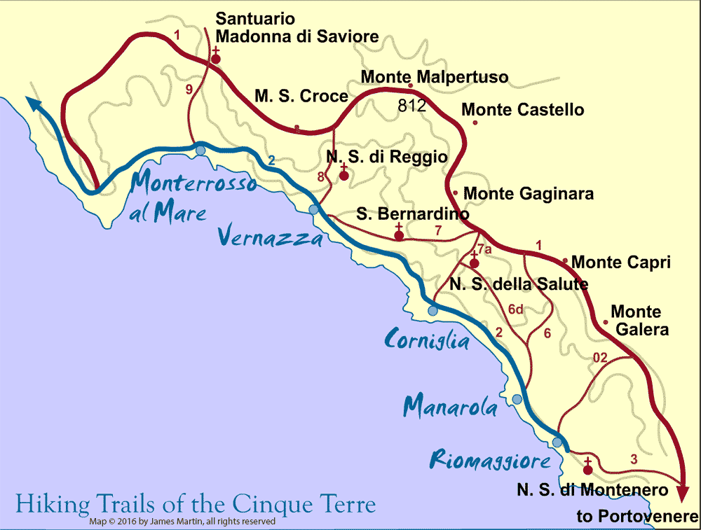 Image result for cinque terre map
