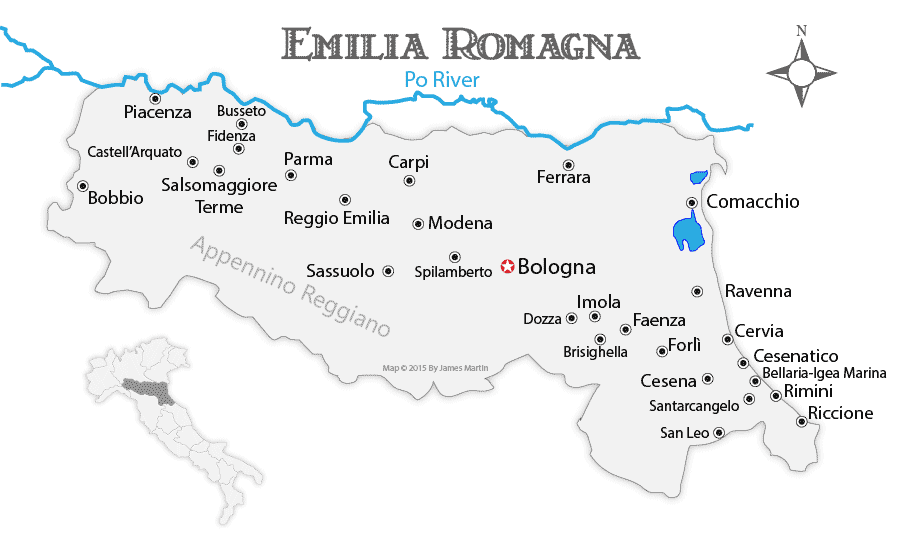 Bologna On Map Of Italy.Emilia Romagna Maps And Travel Guide Wandering Italy