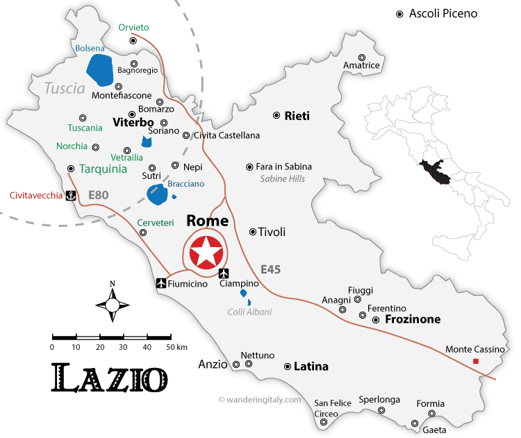 Map Of Italy With Towns.Lazio Maps And Travel Guide Wandering Italy