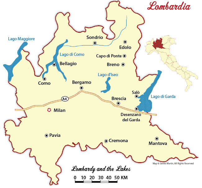 Lombardy Maps and Travel Guide Wandering Italy