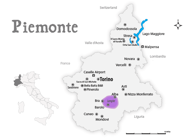 Wine Region Italy Map.Piemonte Map And Travel Guide Wandering Italy