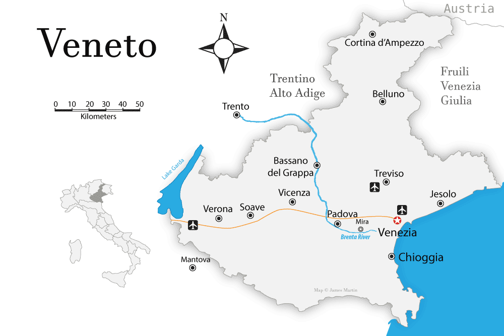 Prosecco Region Italy Map.Veneto Map And Travel Guide Wandering Italy