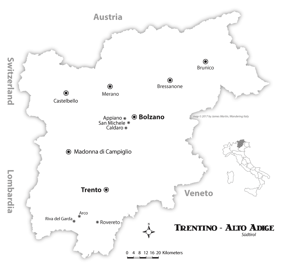 Trentino Alto Adige Map and Tourist Guide Wandering Italy